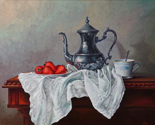 Евгений Квавадзе. Натюрморт с чайником и клубникой.   2016