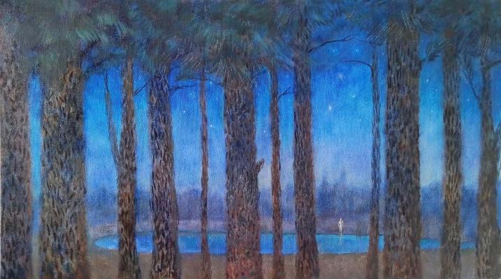 Svitlana Sova. Forest lake, 40x70, canvas, oil2019Sova Svitlana