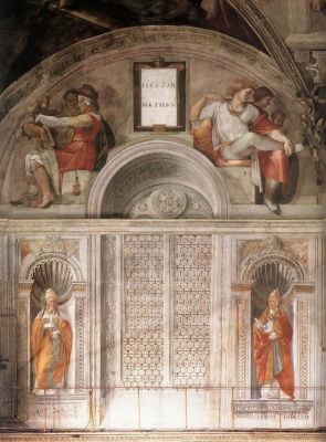 Michelangelo Buonarroti. The Sistine chapel. The ancestors of Christ Eleazar and Matthan