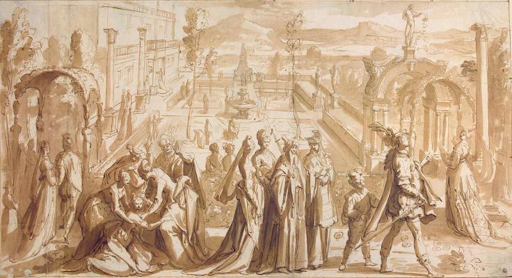 Карел ван Мандер. Куртуазная сцена в дворцовом саду