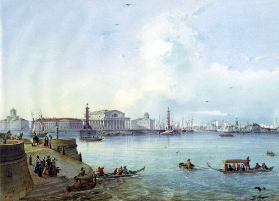 Ludovic Franz Carl Bonstedt. The view on the Strelka of Vasilievsky island