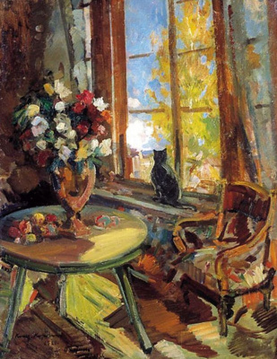 Konstantin Korovin. Black cat on the windowsill
