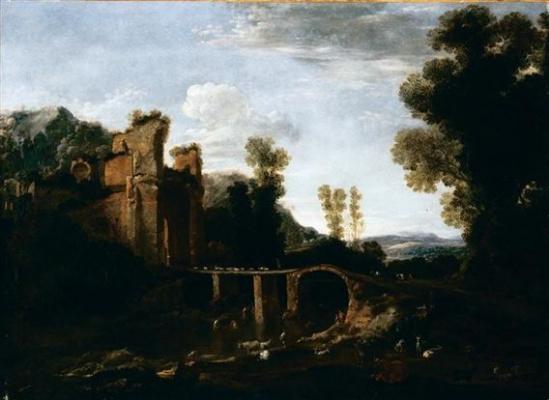 Pieter de Hooch. Landscape with bridge