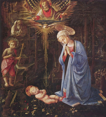 Fra Filippo Lippi. Worship the baby and St. Bernard (Adoration in the forest)