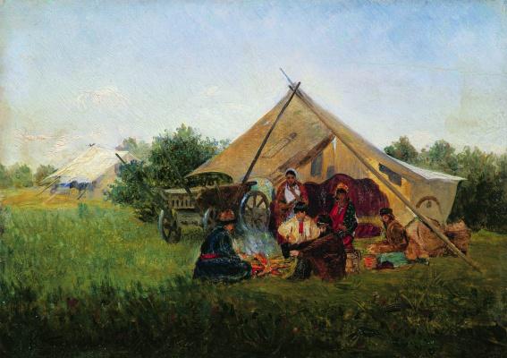 Konstantin Makovsky. Gypsies at a campfire
