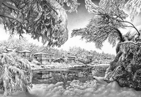 Гурам Николаевич Доленджашвили. Зима на берегу Риони. Из серии Кутаиси
