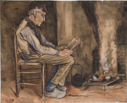 Vincent van Gogh. Man, reading by the hearth