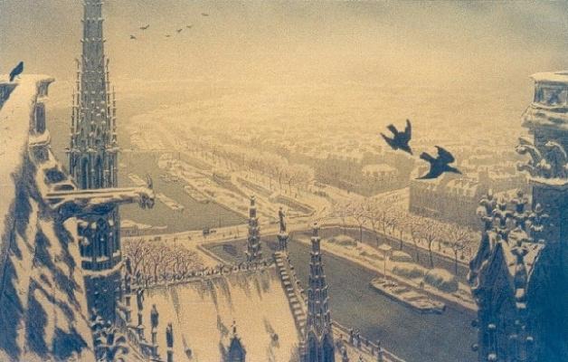 Анри (Henri) Ривьер (Rivière). Парижский пейзаж с вершины башни (Paysage parisiens du haut des tour)