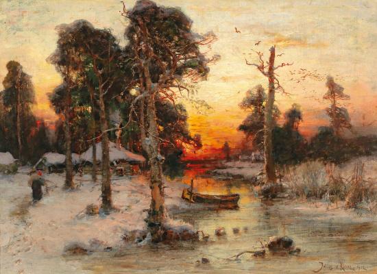 Julius Klever. Return home at sunset