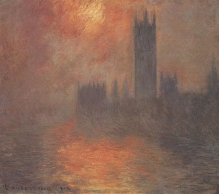 Клод Моне. Вестминстерский дворец, закат