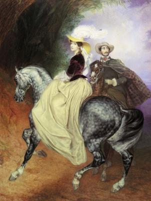 Karl Pavlovich Bryullov. Riders. A companion portrait of E. Muscara and E. Musser