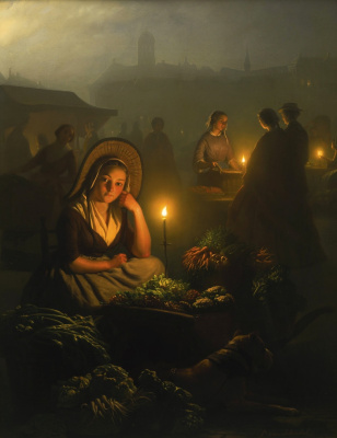 Petrus van Shendel. Night market in Amsterdam with the New Church.