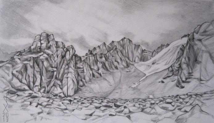 Alexander Hardin. Moraine of the Tuyuksu glacier peak Mayakovsky