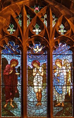 Уильям Моррис. Ранние годы Христа. Крещение. Витражное окно северной галереи Всех Святых