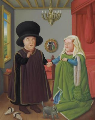 Fernando Botero. Arnolfini (Van Eyck)