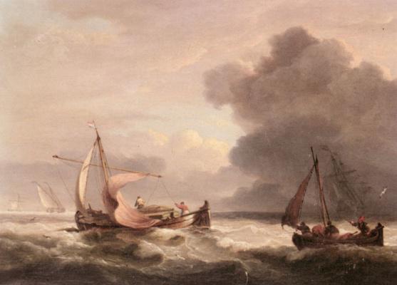 Томас Луни. Голландские баржи в открытом море