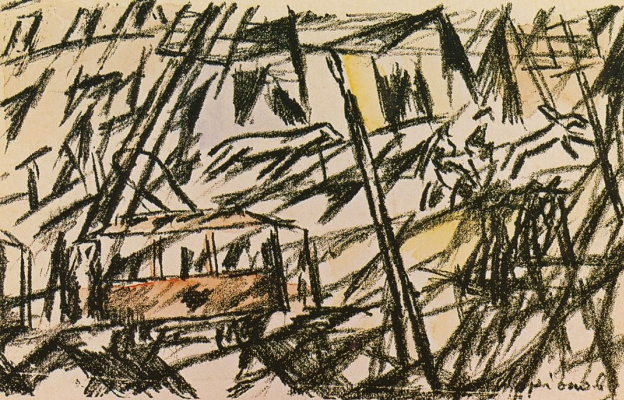 Mikhail Larionov. City. From a series of lithographed open letters published by A. Kruchenykh