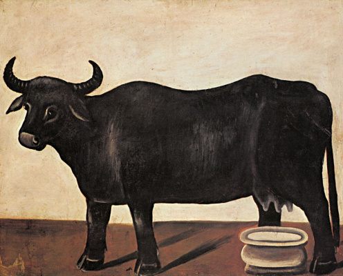 Niko Pirosmani (Pirosmanashvili). Black Buffalo on a white background. Part of a diptych