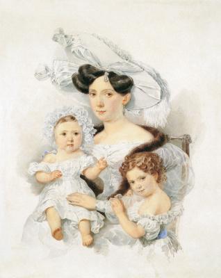 Alexander Pavlovich Bryullov. Portrait of Countess E. N. Chernysheva with her daughters Elizabeth and Alexandra. 1829 - 1830