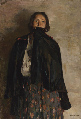 Philip Andreevich Malyavin. A woman covers her mouth with shawl