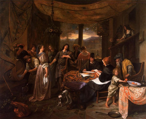 Jan Steen. The wedding of Tobias and Sarah, or Marriage contract