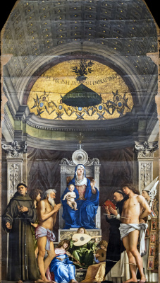 Giovanni Bellini. The throne of St. Job. Madonna and Child with Saints