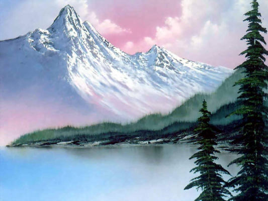 Bob Ross. Lake in the mountains