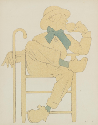 Maxfield Parrish. Seated man with a cup of tea