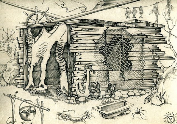 "Svetlana Sergeevna Malyodnik. Sketch for the film E. Sevela ""White Dunes"""