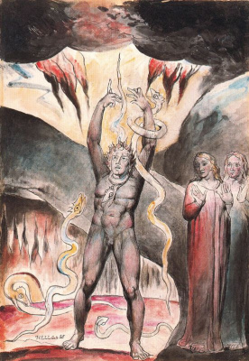 """William Blake. Vanni's Pucci rebels against God. Illustrations for """"the divine Comedy"""""""