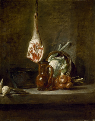 Still life with jug and vegetables, leg of lamb
