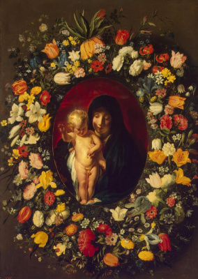 Jacob Jordaens. Madonna and Child in a wreath of flowers