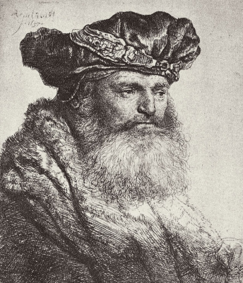 Rembrandt Harmenszoon van Rijn. Portrait of a bearded man in a beret with a brooch