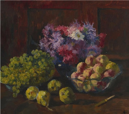 Giovanni Giacometti. Still life with fruit and flowers