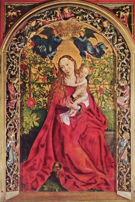 Martin Schongauer. Maria in a pink gazebo