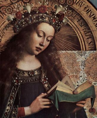 Губерт ван Эйк. Гентский алтарь, алтарь мистического агнца, центральная часть, сцена: Мария на троне, деталь