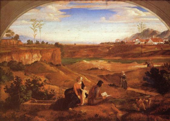 Святое семейство с Иоанном Крестителем во младенчестве на фоне пейзажа