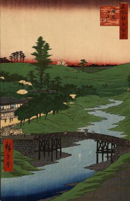 "Utagawa Hiroshige. The Furukawa river in Hiroo. The series ""100 famous views of Edo"""