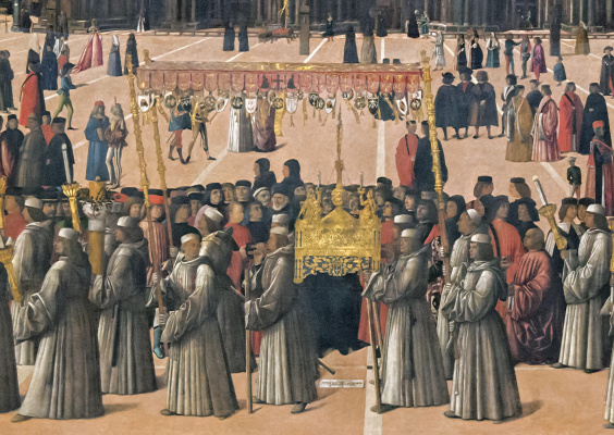 Gentile Bellini. The procession of the relics of the Holy Cross in St. Mark's Square. Fragment IV