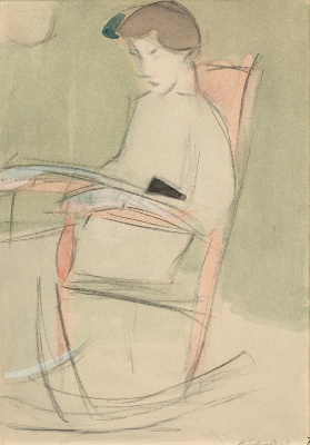 Helena Sophia Scherfbek. Girl in a rocking chair