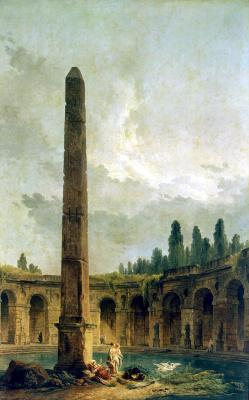 Hubert Robert. Decorative landscape with an obelisk