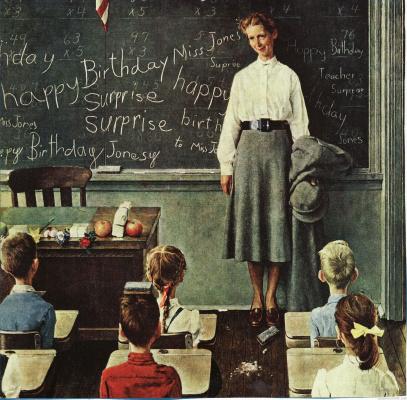 Norman Rockwell. Birthday teacher