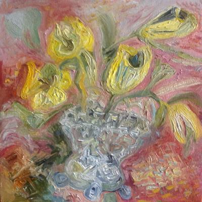 Agnes Carrot. Yellow tulips