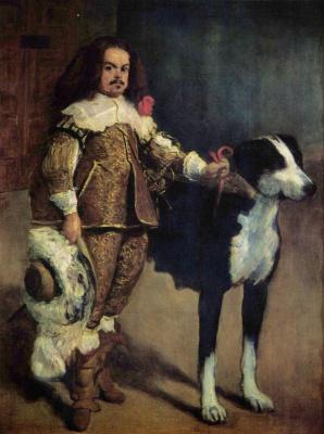 Хуан Карреньо де Миранда. Придворный карлик с собакой