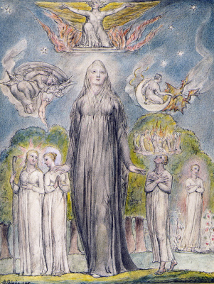 "William Blake. Melancholy. Illustrations to the poems of Milton's ""Fun"" and ""Thoughtful"""