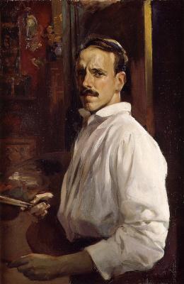 Хосе Бенллиур Ортис. Автопортрет с белой рубашкой