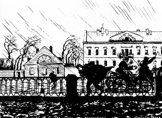 "Alexander Nikolaevich Benoit. Illustration to ""the bronze horseman"" by Pushkin"