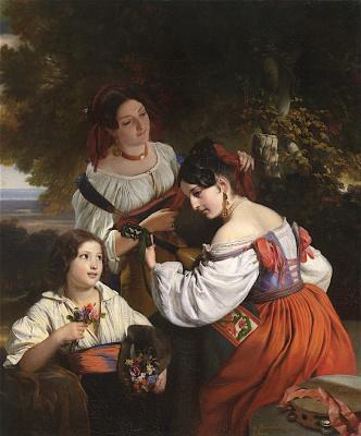 Franz Xaver Winterhalter. Genre scenes from Italian life