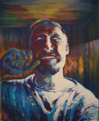 Nikolai margin. Self-portrait with a knife in his teeth