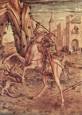 Carlo Crivelli. St. George and the dragon. The altar of the family, Odoni, right wing at the base of the altar